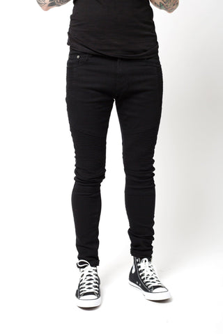 Liquor & Poker Harley Super Skinny Jeans Biker Black stretch twill - Liquor N Poker  Liquor N Poker