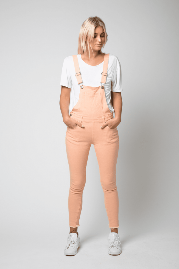 Lizzie Full Length Dungaree With Distressing In Skinny Fit In Coral Pink - Liquor N Poker  Liquor N Poker