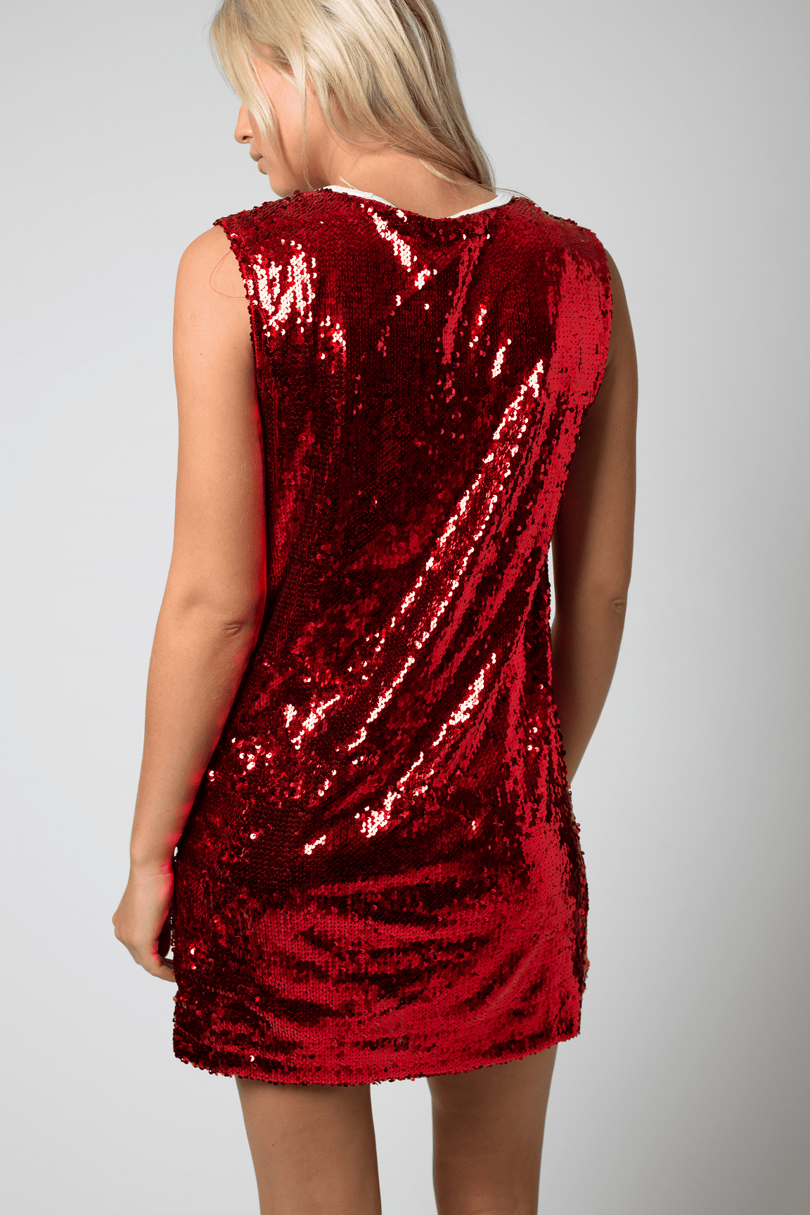 Liquor n Poker - Varsity basketball vest dress in red sequin and number 95 - Liquor N Poker  Liquor N Poker