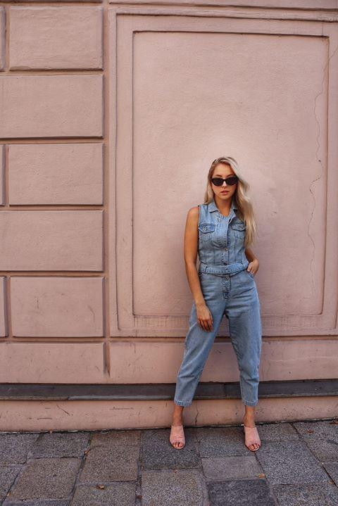 Liquor n Poker 80s denim jumpsuit with eyelet belt