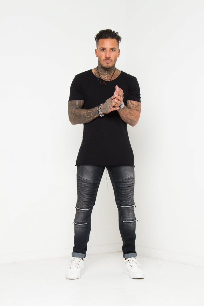 Harley Zip Knee Skinny Biker Jean In Washed Black - Liquor N Poker  LIQUOR N POKER