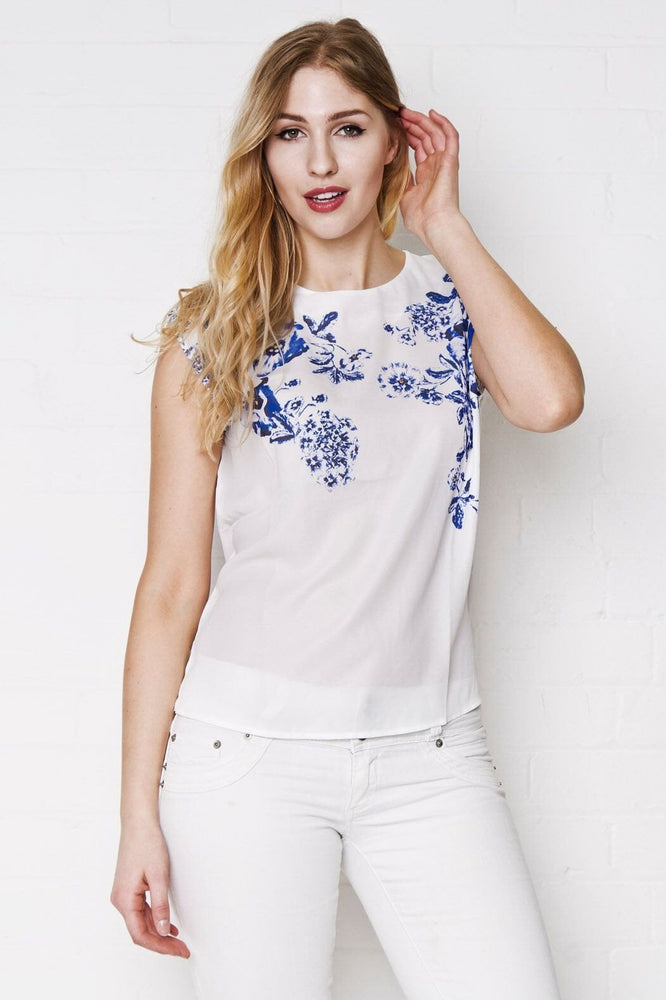 Blue Floral Graphic Top - Liquor N Poker  LIQUOR N POKER