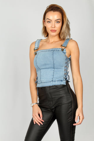 Denim Corset Top with Ring Pull Zipper