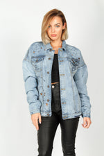 Boyfriend 'don't touch me' Graffiti Denim Jacket - Liquor N Poker  LIQUOR N POKER