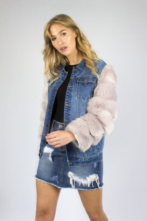 Boyfriend Denim Jacket With Grey Fur Sleeves - Liquor N Poker  Liquor N Poker