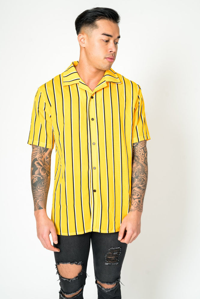 Revere collar beach shirt in yellow stripe - Liquor N Poker  LIQUOR N POKER