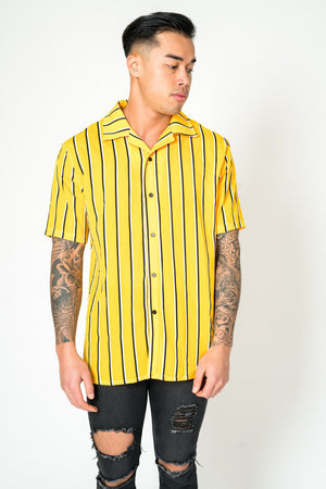 Load image into Gallery viewer, Revere collar beach shirt in yellow stripe - Liquor N Poker  LIQUOR N POKER