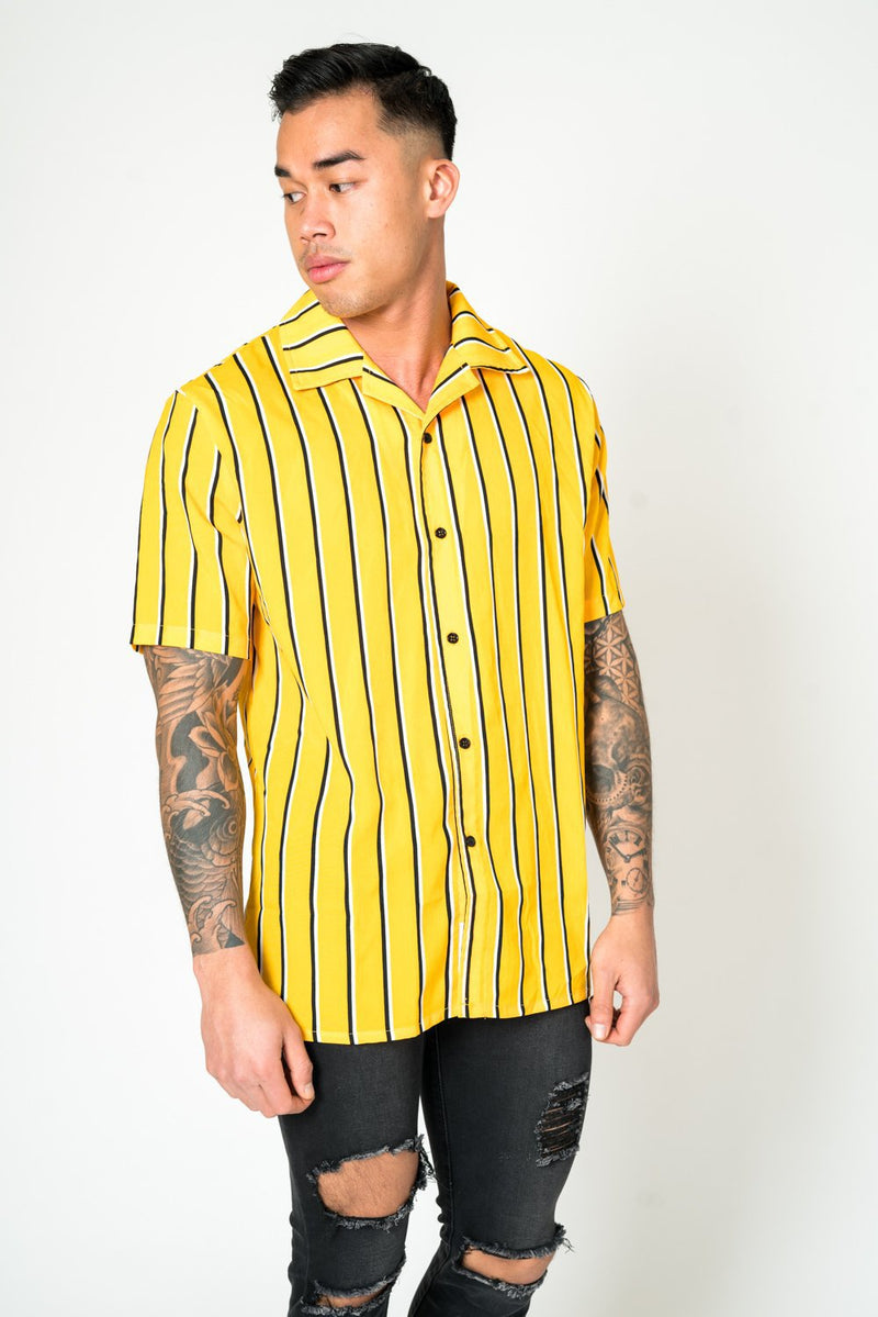 Revere collar beach shirt in yellow stripe
