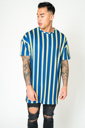 Load image into Gallery viewer, BAYSIDE OVERSIZED T SHIRT IN BOLD NAVY & YELLOW STRIPE - Liquor N Poker  LIQUOR N POKER