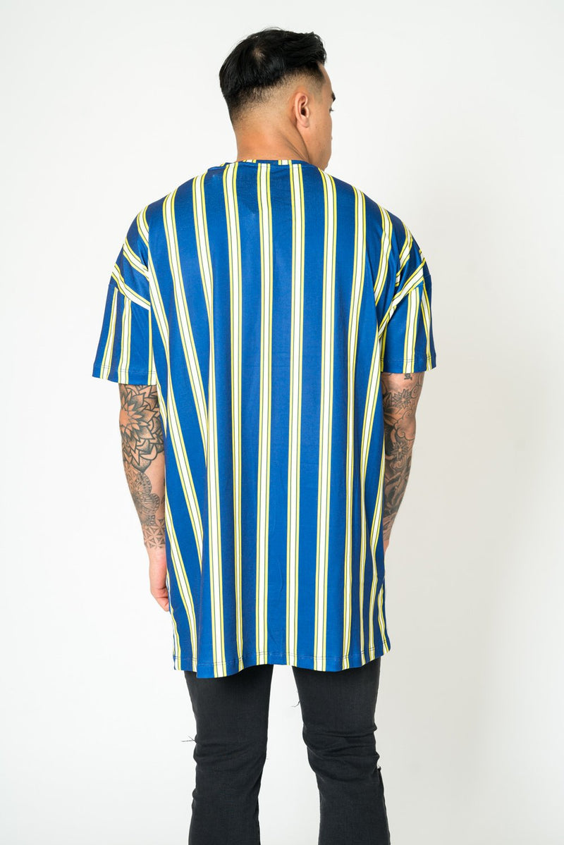BAYSIDE OVERSIZED T SHIRT IN BOLD NAVY & YELLOW STRIPE - Liquor N Poker  Liquor N Poker