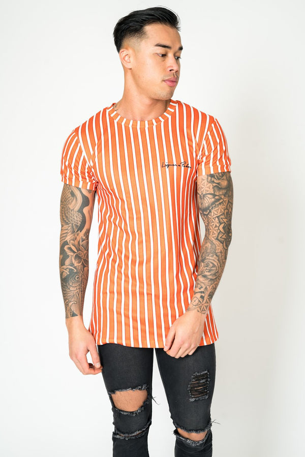 MUSCLE FIT T - SHIRT IN RUST AND WHITE