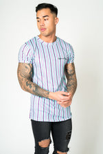 MUSCLE FIT T - SHIRT IN CANDY STRIPE LILAC AND LIME - Liquor N Poker  LIQUOR N POKER