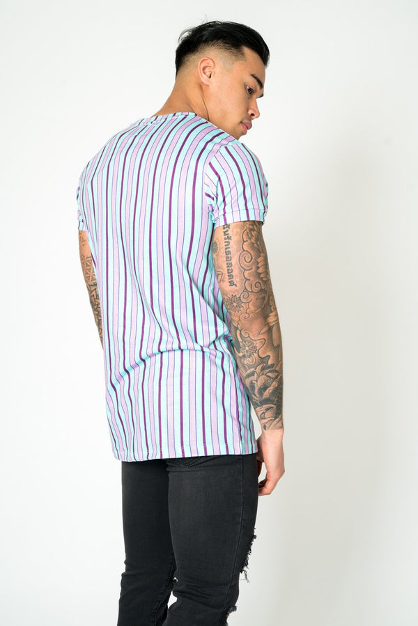 MUSCLE FIT T - SHIRT IN CANDY STRIPE LILAC AND LIME