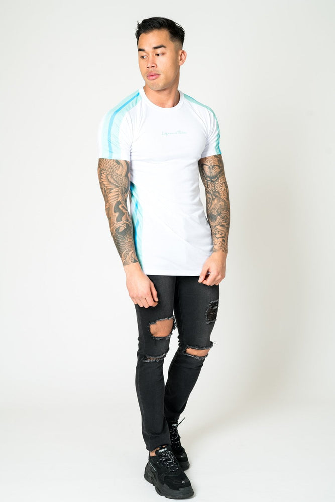 MUSCLE FIT WHITE TEE WITH AQUA NEON STRIPE