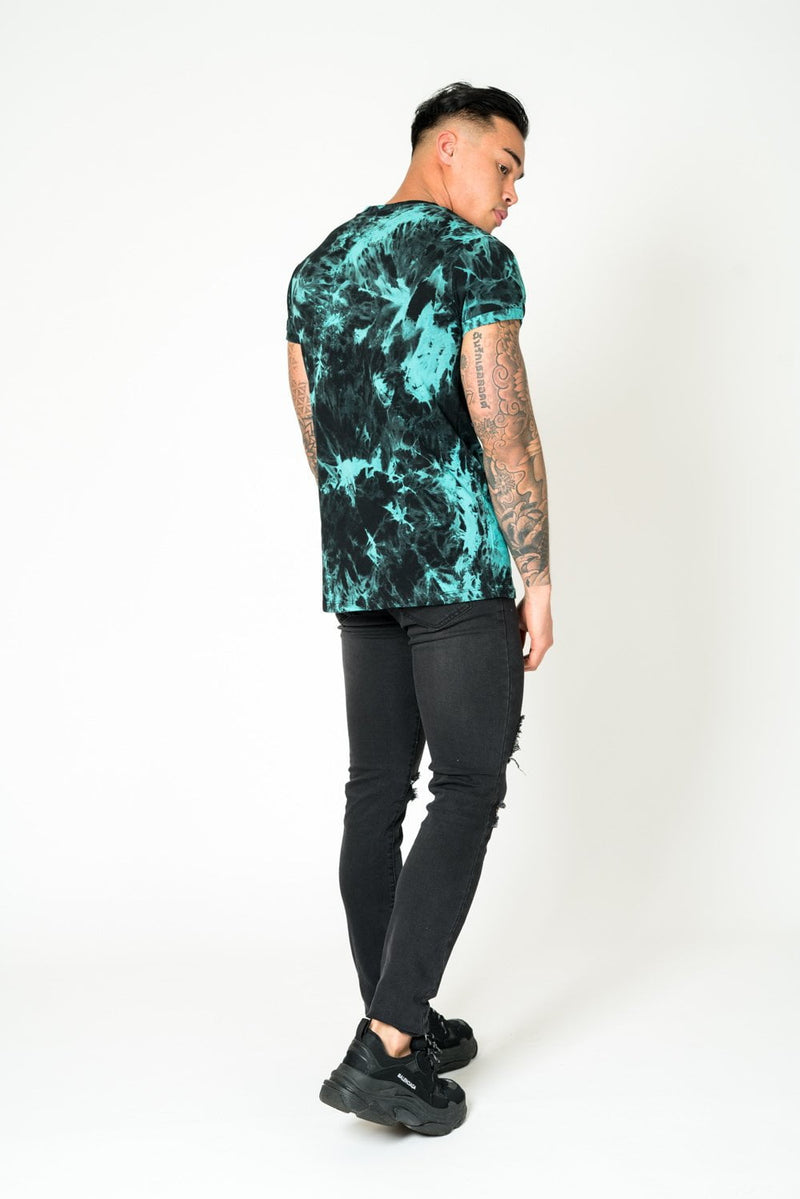 M1287 - MUSCLE FIT TEE IN TIE DYE GREEN