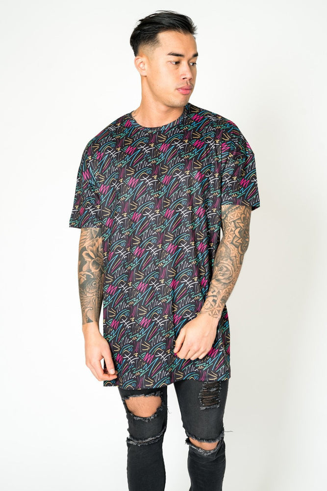 BAYSIDE OVERSIZED T SHIRT IN BLACK WITH GRAFFITI
