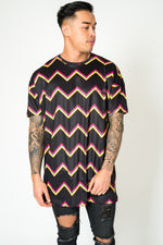 BAYSIDE OVERSIZED T SHIRT IN BLACK WITH ZIG ZAGS