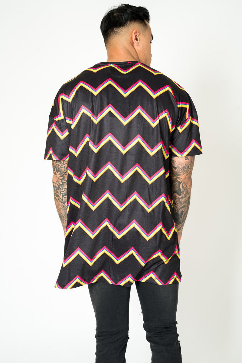 BAYSIDE OVERSIZED T SHIRT IN BLACK WITH ZIG ZAGS - Liquor N Poker  Liquor N Poker