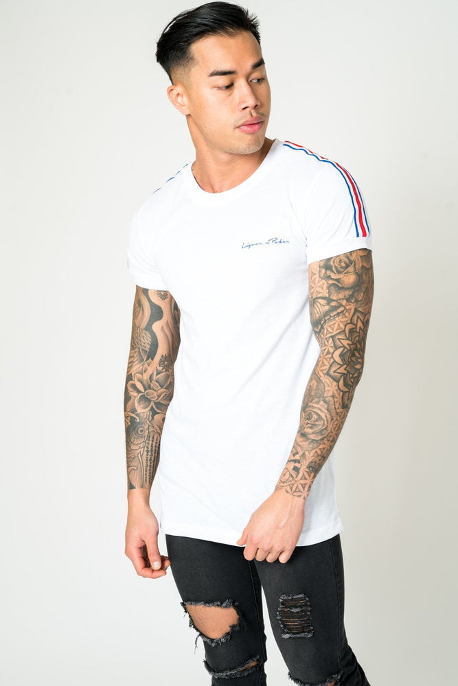 MUSCLE FIT WHITE TEE WITH RED AND BLUE SPORTS STRIPE - Liquor N Poker  LIQUOR N POKER