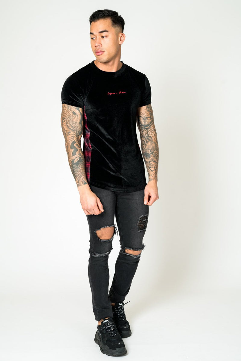 MUSCLE FIT TEE IN TARTAN VELOUR
