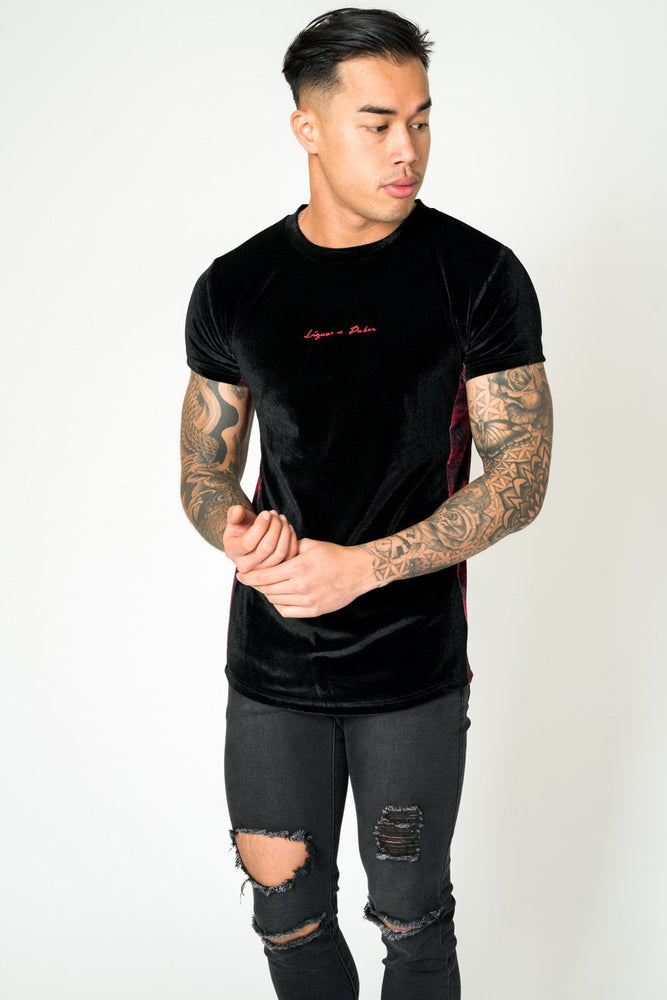 MUSCLE FIT TEE IN TARTAN VELOUR - Liquor N Poker  LIQUOR N POKER