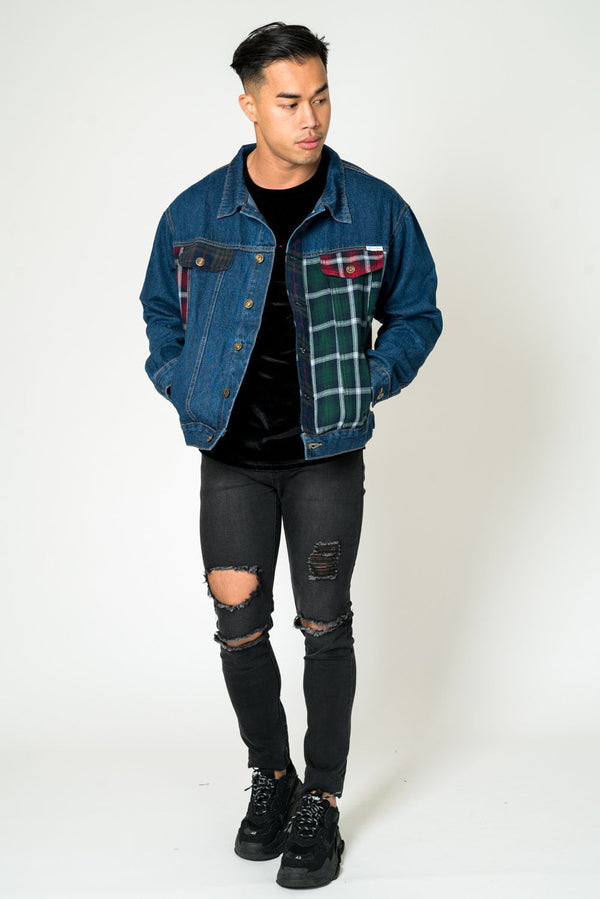 OVERSIZED DENIM JACKET WITH CONTRAST TARTAN PATCHWORK
