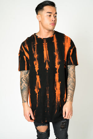 STRIPE TIE DIE T SHIRT IN ORANGE - Liquor N Poker  LIQUOR N POKER