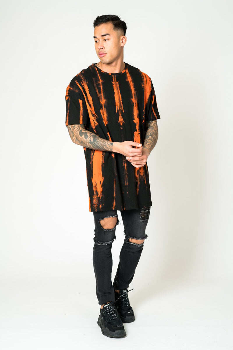 m1293 black and orange tye dye tee shirt oversized - Liquor N Poker  Liquor N Poker