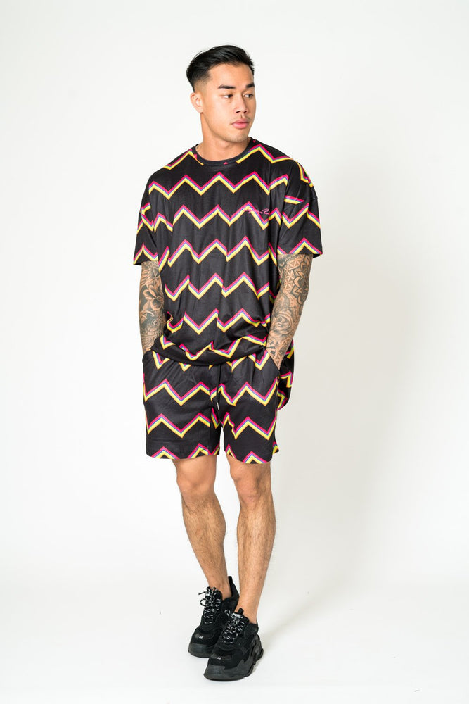 RELAXED FIT SHORTS IN BLACK WITH MULTI COLOUR ZIG ZAG - Liquor N Poker  LIQUOR N POKER
