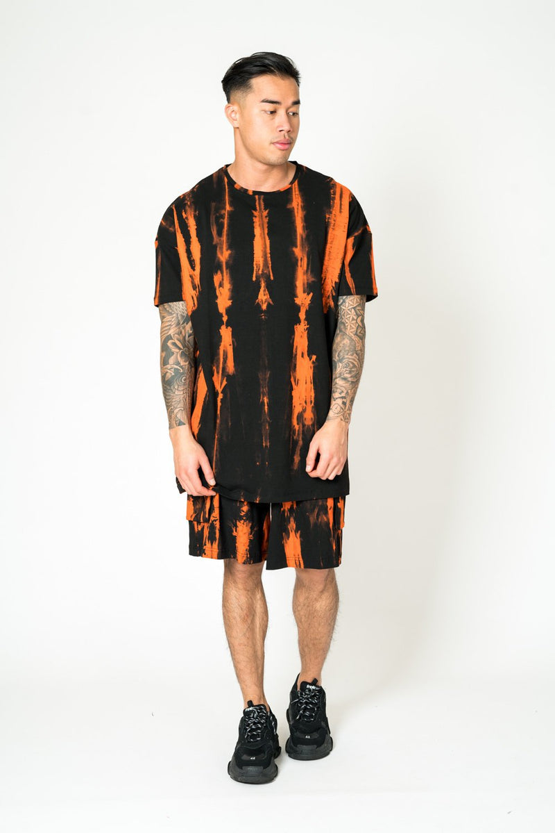 STRIPE TIE DIE LONG SHORT IN ORANGE