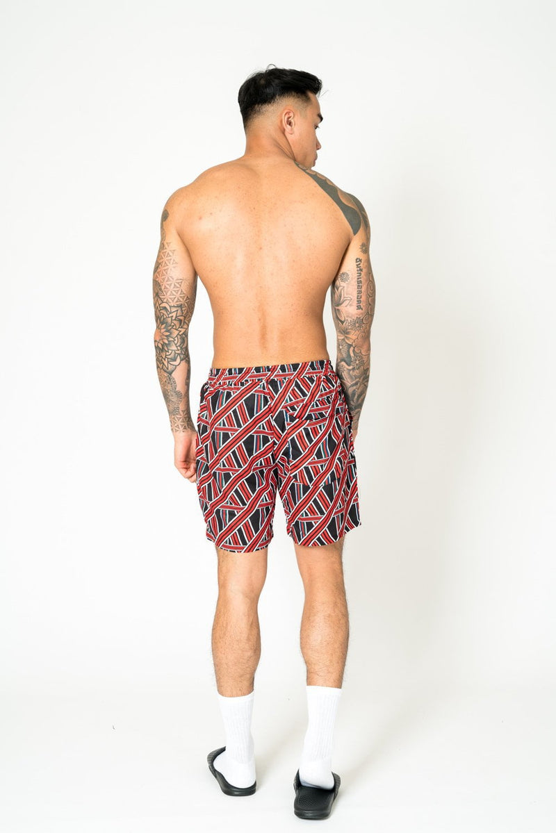 Relaxed fit shorts in red and black gemtric pattern
