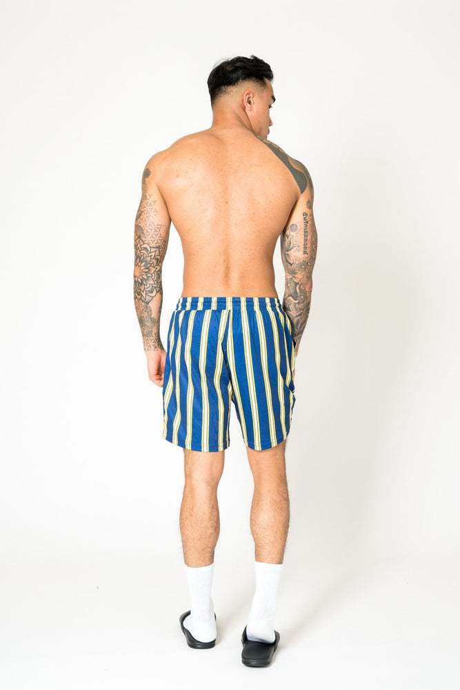 RELAXED FIT SHORTS IN BLUE AND YELLOW - Liquor N Poker  LIQUOR N POKER
