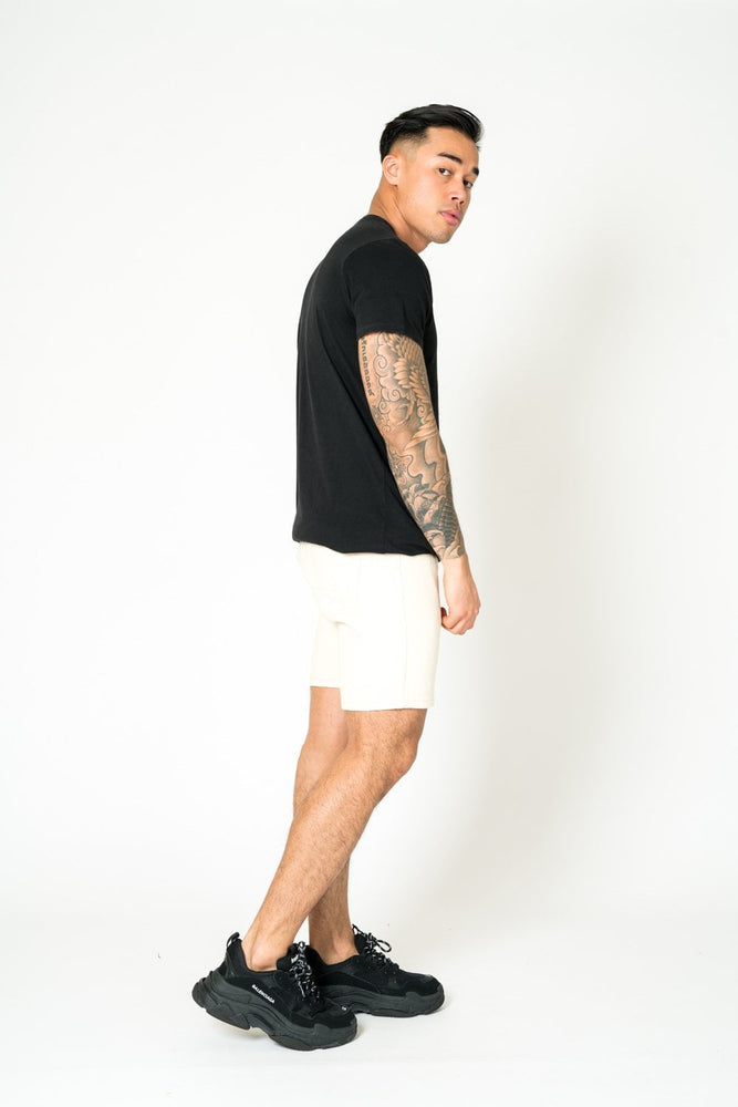 MIAMI RELAXED DENIM SHORTS IN ECRU - Liquor N Poker  LIQUOR N POKER