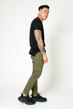 FARO SLIM FIT CARGO TROUSER IN KHAKI - Liquor N Poker  Liquor N Poker