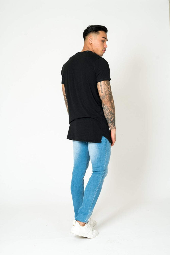 Logan Stretch Skinny Jeans With Double Painted Stripe - Liquor N Poker  LIQUOR N POKER