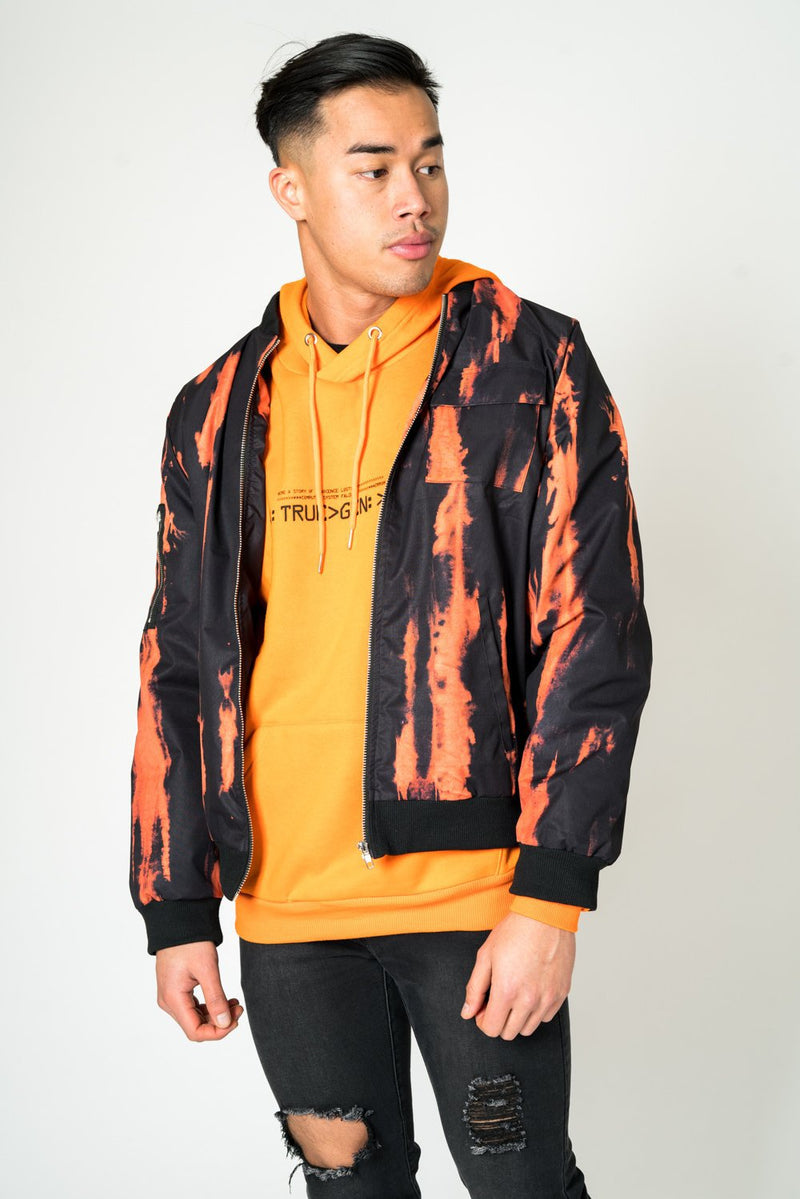 ORANGE TYE DYE BOMBER