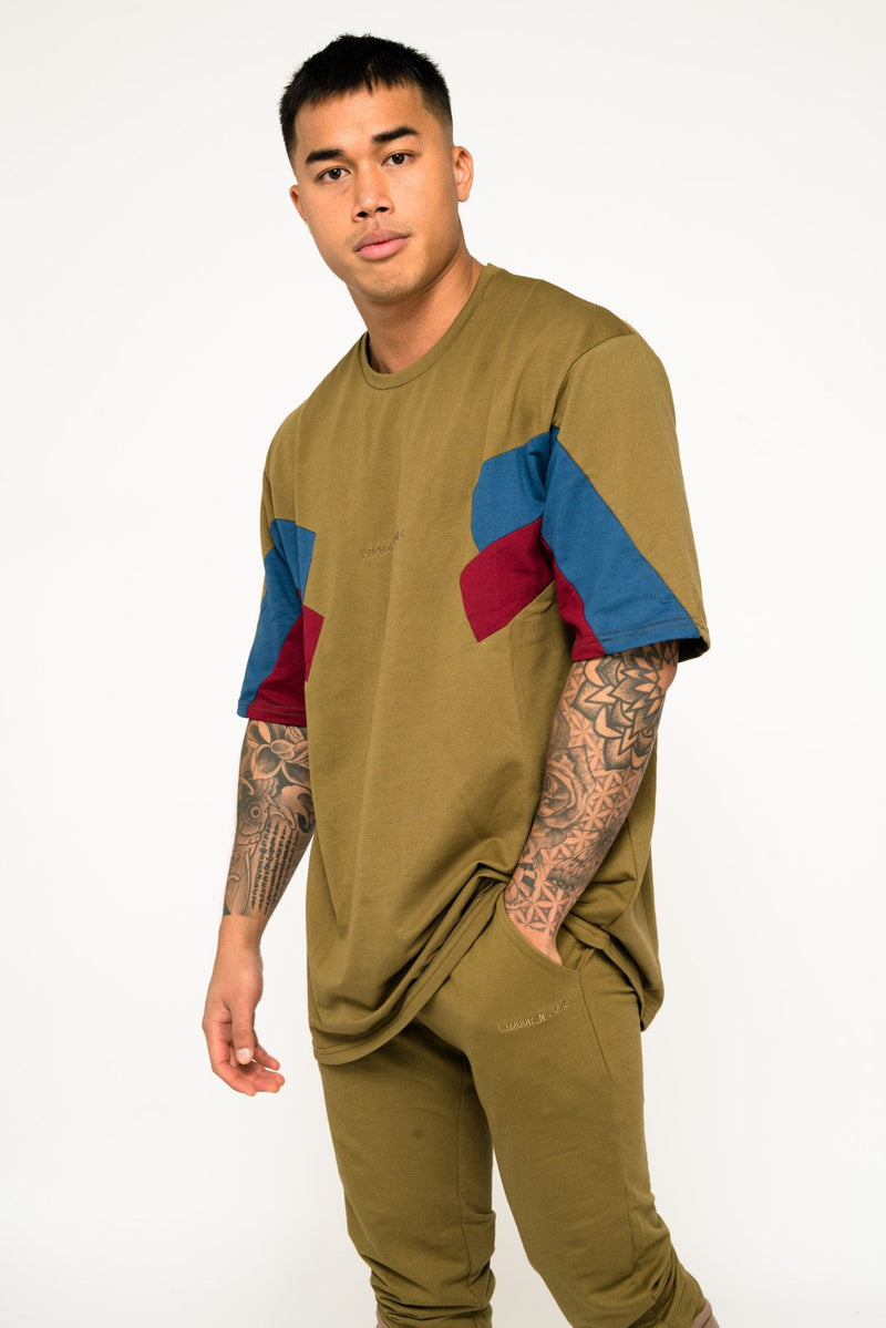 BAYSIDE OVERSIZED BLOCK WORK T SHIRT IN KHAKI - Liquor N Poker  Liquor N Poker
