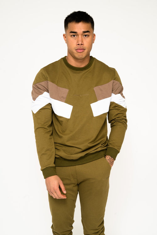 Bakerfield blockwork jumper in Khaki - Liquor N Poker  Liquor N Poker