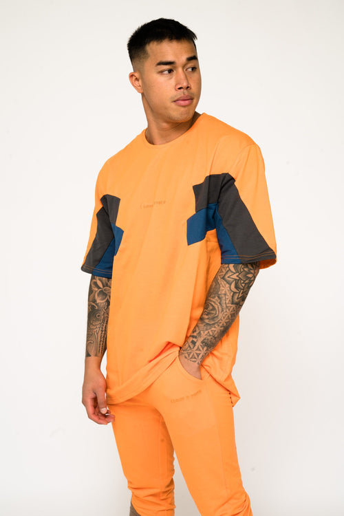 BAYSIDE OVERSIZED BLOCK WORK T SHIRT IN ORANGE - Liquor N Poker  Liquor N Poker