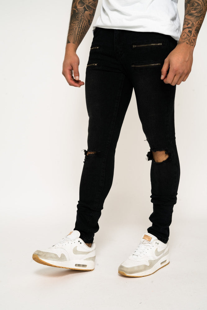 Logan  Stretch Skinny Jean with double zipper pocket and knee rip - Liquor N Poker  LIQUOR N POKER