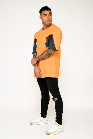 Bakerfield blockwork jumper in Orange