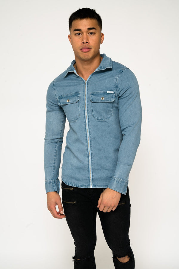 MUSCLE FIT BLUE DENIM SHIRT WITH ZIP