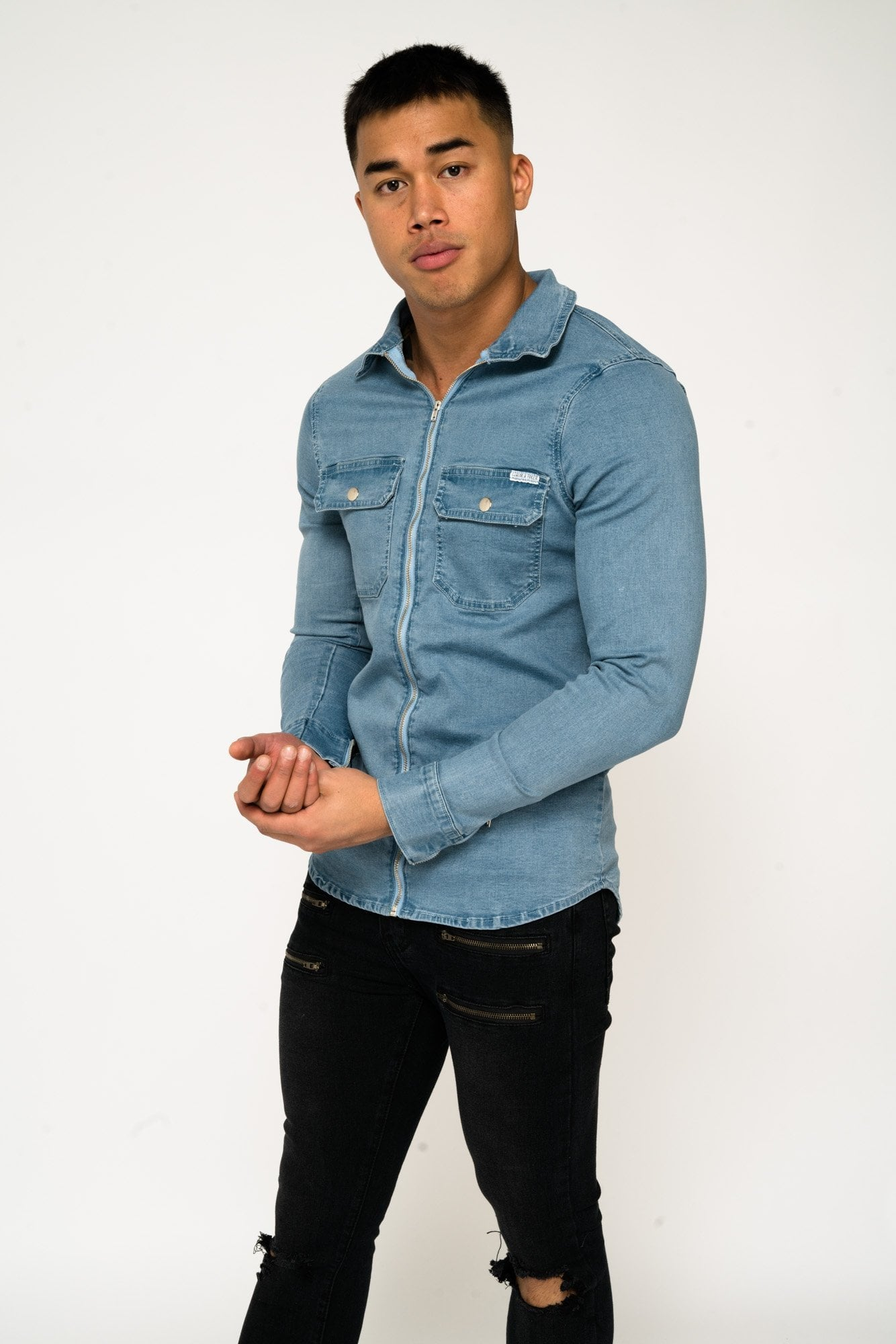 322c262d521 MUSCLE FIT BLUE DENIM SHIRT WITH ZIP – LIQUOR N POKER