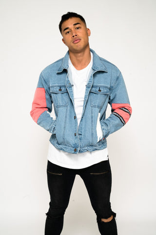 Jaden oversized Denim Jacket with patchwork