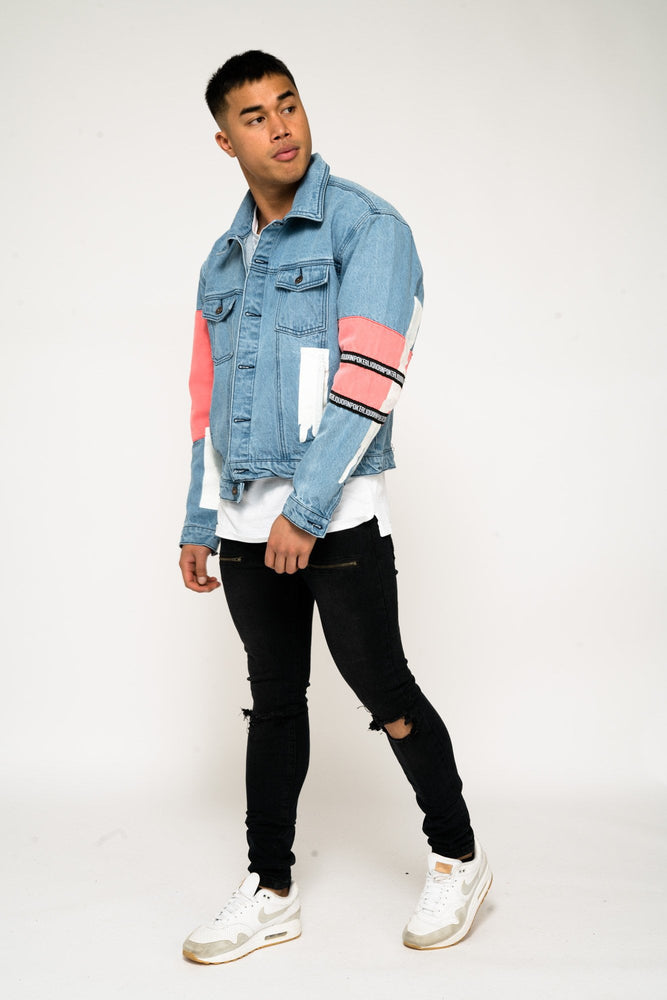 JADEN OVERSIZED PAINT & PATCHWORK DENIN JACKET - Liquor N Poker  Liquor N Poker