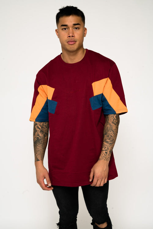 BAYSIDE OVERSIZED BLOCK WORK T SHIRT IN BURGUNDY - Liquor N Poker  Liquor N Poker