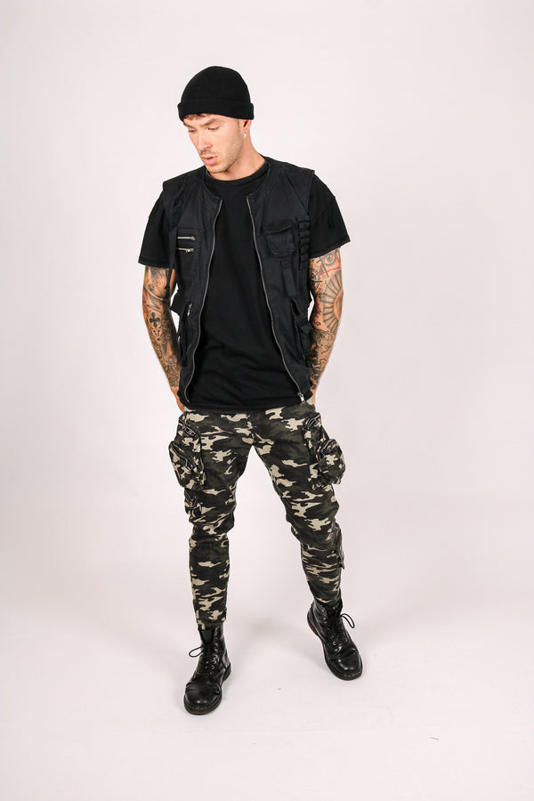 Fort utility trousers in khaki camo with bubble pockets