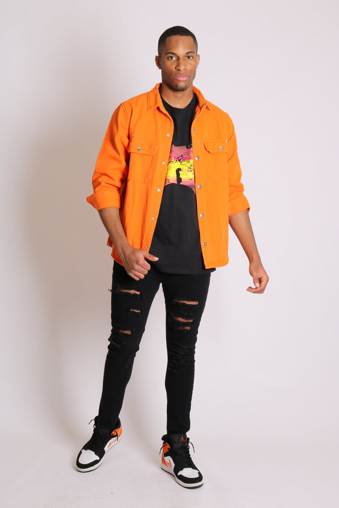 Ashton denim worker shirt in neon orange - Liquor N Poker  LIQUOR N POKER