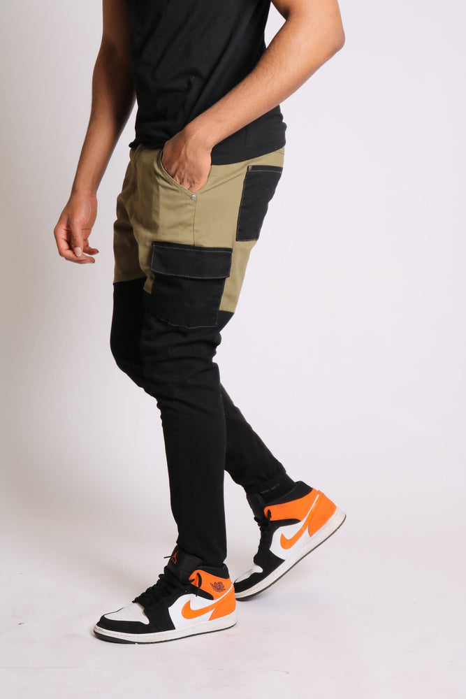 Faro relaxed denim jogger in contrast black and khaki