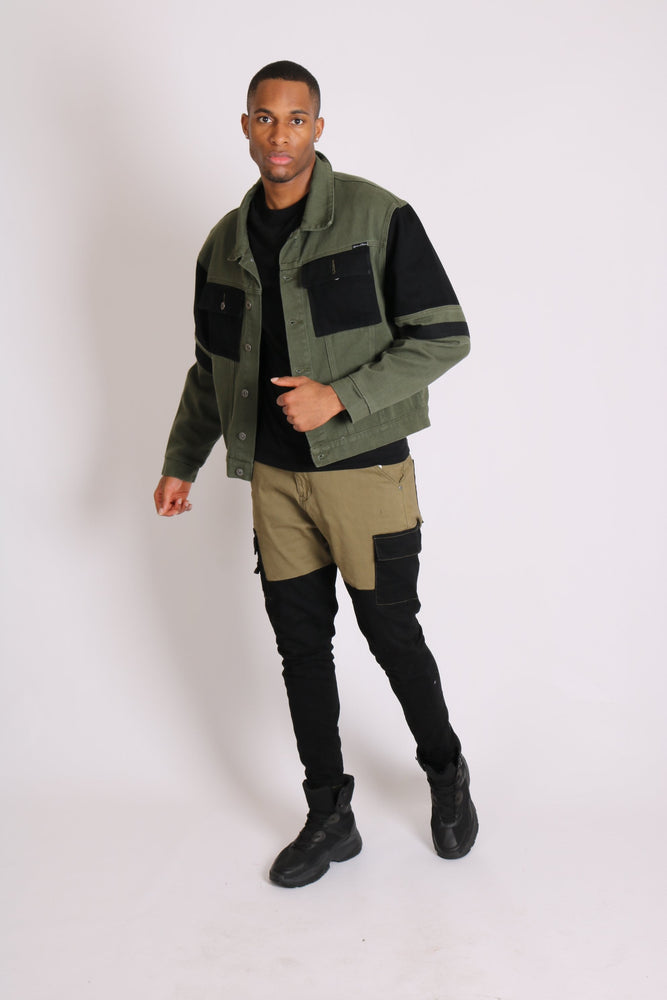 Faro relaxed denim jogger in contrast black and khaki - Liquor N Poker  LIQUOR N POKER